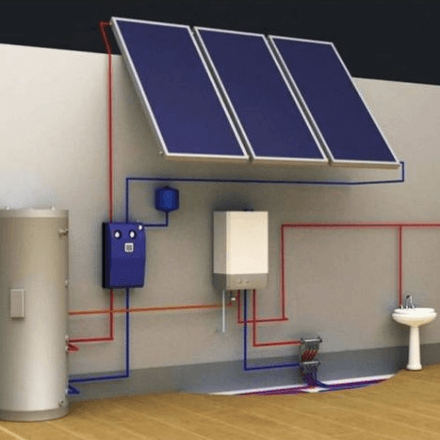 Фотография Отопление дома с помощью солнечных панелей