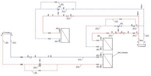 Фотография Схема обвязки вентиляционной установки и водяного калорифера